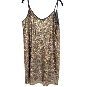 Gianni Bini Dresses - GIANNI BINI | Metallic Sequin Slip Dress Large